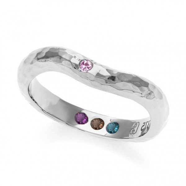 Personalisierter Silberring gehämmert mit Steinen - Hidden Inner Strength