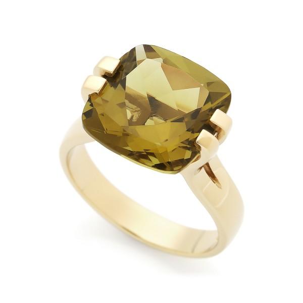 Brilliant - Ring Olivenquarz (grün) Gold