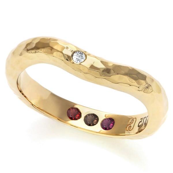 Personalised Hidden Inner Strength Ring Hammered Gold