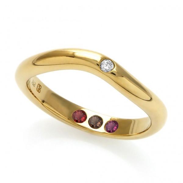 Personalisierter Goldring poliert mit Steinen - Hidden Inner Strength