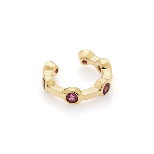 Citygirl pink - Ear cuff Rhdolith (pink) Gold