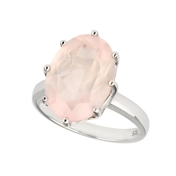 Rose - Ring Rosenquarz (rosa) Silber