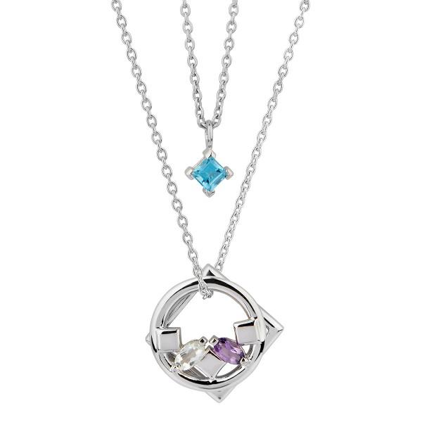Daring - Halskette Topas, Amethyst (blau, violett) Silber